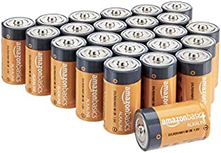 Amazon Basics 24 Pack D Cell All-Purpose Alkaline Batteries, 5-Year Shelf Life, Easy to Open Value Pack