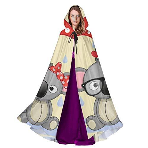 LONGYUU Grußkarte Twin Animal Under Umbrella Adult Herren Mantel Adult Cape Umhang 59inch Für Weihnachten Halloween Cosplay Kostüme