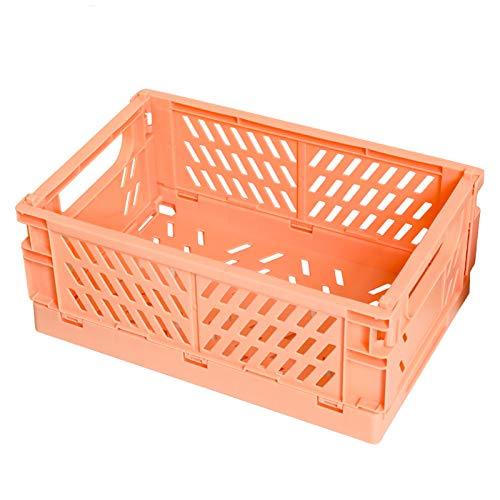 ZQ&QY Plástico Plegable Caja De Almacenaje,Portátil Apilable Bolsa De Almacenamiento con Handle,Ahorro De Espacio Extraíble Caja De Almacenamiento para Office Bedroom-Naranja 25x16.5x10cm
