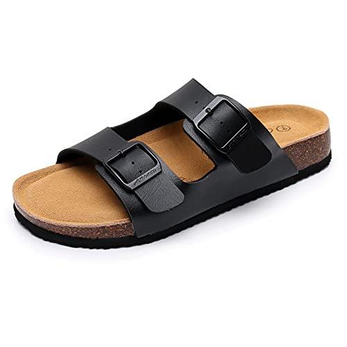 AOBETU Men's Slide Sandals - Arch Support Slides Comfort Slip on Cork Footbed Sandals Beach Slippers with Adjustable Buckle Straps for Men (US 9, Black)