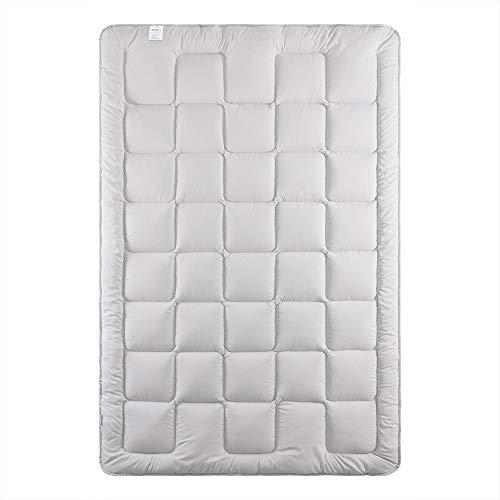 sei Design Premium leichte Bettdecke LOFT 155 x 220 mit weichem Bezug   Baumwolle + Mikrofaser   stylisch modern gesteppt Silber-grau