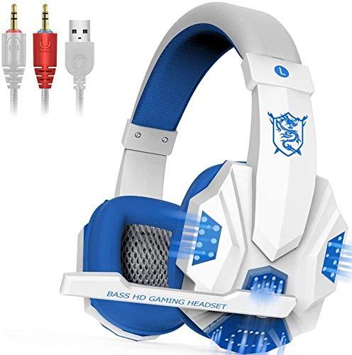 Zjcpow Gaming Headset, Basse Casque Gaming avec LED Réduction du Bruit Micro et contrôle du Volume for PS4 PC Portable Mac, Bleu (Couleur: Bleu) 1yess (Couleur: Bleu) xuwuhz