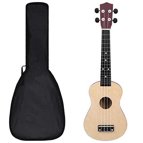 """vidaXL Set de Ukelele Soprano con Funda para Niños Juego Instrumento Musical Guitarra para Principiantes Jóvenes Aficionados Profesionales Color Madera Clara 23"""""""