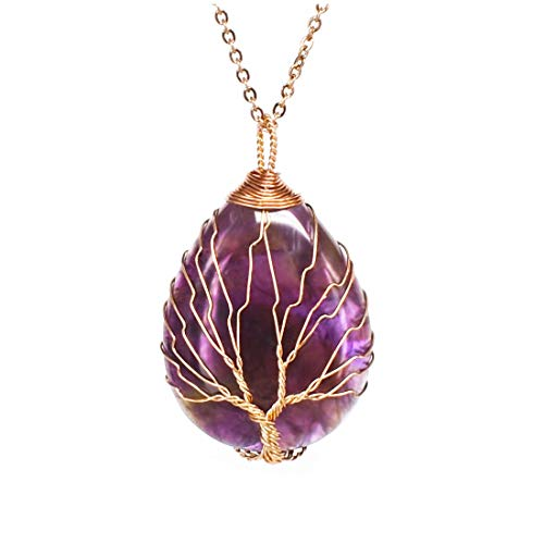 ULGAI Collar de Cristal Envuelto en árbol de la Vida, Colgante de Piedras Preciosas Naturales en Forma de lágrima Vintage, Collar curativo con múltiples Opciones