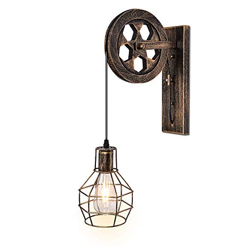 1 Luminaria Industrial Retro Hierro Apliques Loft Polea Lámpara de pared Características para iluminación interior