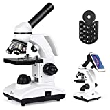 TELMU Mikroskop Optisch 40-1000X - Biologisch Monocular Mikroskop mit LED Lichtquelle und Smartphone Adapter -
