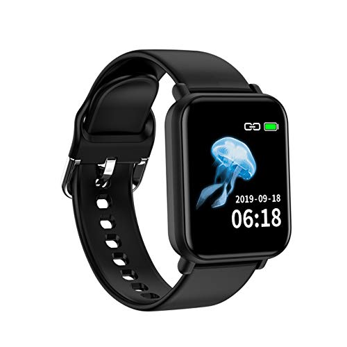 Laxcido Fitness Tracker Smart Watch for Men Women, Heart Rate Blood Pressure Sleep Monitor IP68 Waterproof Pedometer Step Counter Call SMS Notification Calorie Fitness Smart Watch (Black)