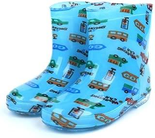 Generic Children Shoes PVC Rubber Kids Baby Cartoon Rain Boots Waterproof Water Shoes, Size:28(Light Blue Car)
