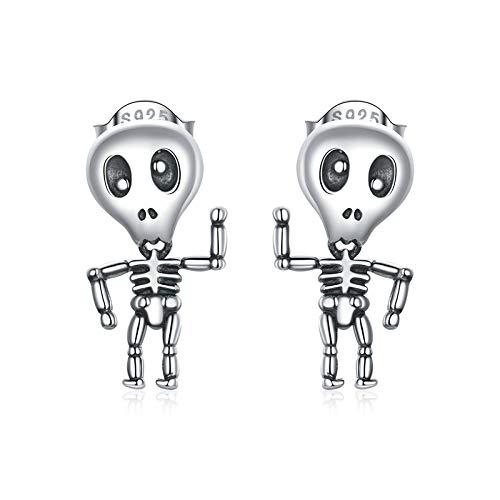 Pendientes de calavera de plata S925 para hombre y mujer