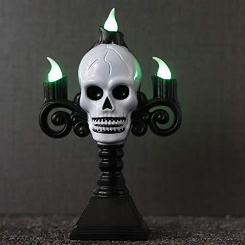 PJF Ghost Mano Candela LED Scheletro elettronico Candela Luce Senza Fumo Festa di Nozze Puntelli di Halloween Decorazione Luce, Diavolo Bianco 1pz