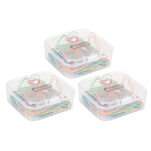 Clip de papel, 3 cajas Clip de papel de color mezclado Mini forma de corazón para documentos de oficina Organizar herramientas