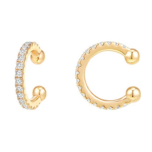 PAVOI 14K Gold Plated 925 Sterling Silver Cubic Zirconia Sparkling Round Huggie Ear Cuff Earrings in Rose Gold, White Gold and Yellow Gold