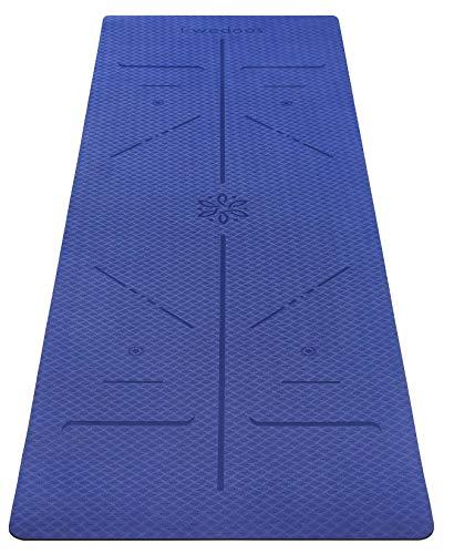 Ewedoos Yogamatte rutschfest mit Ausrichtungslinien umweltfreundliches TPE Yogamatten mit Tragegurt Ideal Yoga Mat Übungsmatte für Yoga Pilates Fitness (Dunkelblau)