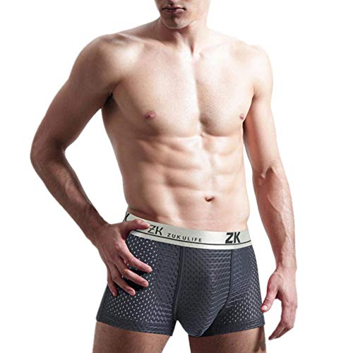HuntDream Ropa Interior Transpirable con Orificio para el Aire para Hombres Sexy Mesh Boxer Briefs Pack of 3