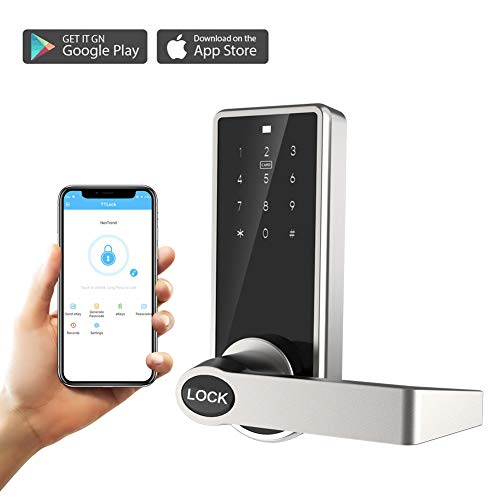 ARCBLD Smart Lock Keyless Lock with Touchscreen Keypad and Bluetooth Enabled APP Works with iOS and Android for Home Hotel Apartment (Silver)