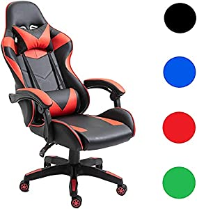 Gaming Chair Racing Computer Style High Back Game Chair Adjustable Reclining Office Chair with Adjustment Recliner, Headrest and Lumbar Support (Black)