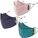 GASK 3D Protego Cotton Reusable Premium Design Cloth Face Mask with 20 Nonwoven Filters for Unisex (Prussian Blue, Dusky Pink, Teal Green)