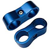 Billet Aluminum 8AN Nylon/Steel Braided Fuel Hose Tube Line Separator Divider Clamp Pliers Tools 16mm ID AN8 Fitting Adapter Generic Blue, Pack of 2