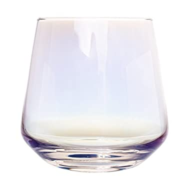 Iris Iridescent Crystal Stemless Wine Glasses - Set of 4, 12 Ounce