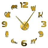 hufeng Reloj de Pared Gatitos Sin Marco 3D DIY Reloj de Pared Mudo Cuarzo Acrílico Efecto de Espejo Etiqueta Reloj Reloj Moda Decoración del hogar Regalo de Amante de los Gatos