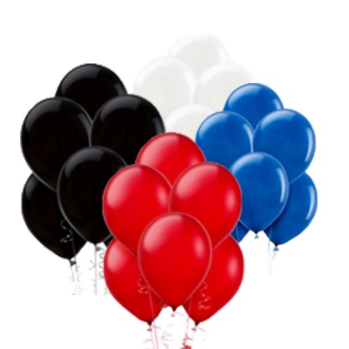 40 Balloons: Red, White, Blue, Black - 12' Round