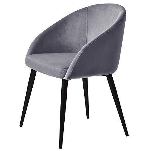 WISBEAM Velvet Armchair Dining Chair Bedroom Chair with Armrests & Backrest & Steel Legs(1PC, Grey