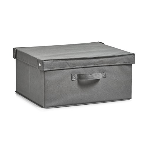 Zeller 14606 Aufbewahrungs Box mit Deckel, faltbar, Vlies, grau, ca. 41 x 35 x 20 cm