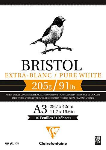 Clairefontaine 96172C - Bloc de cartón bristol (20 hojas A3, 29,7 x 42 cm, 205 g), color blanco