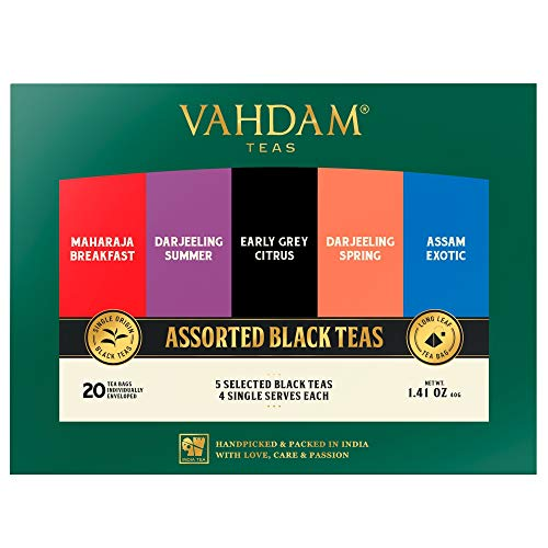 Muestreador de té negro, 5 tés - Bolsitas de té surtidas | Desayuno Inglés, Darjeeling, Assam, Earl Grey Tea | 20 Conde | El mejor juego de regalo de té y el regalo de té para los amantes del té