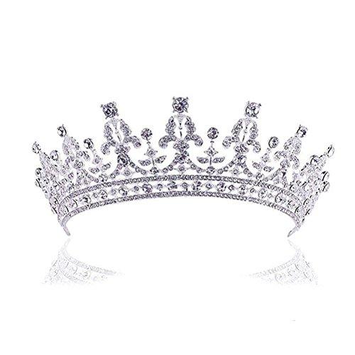 ROSENICE Diadem Hochzeit Krone Tiara Braut Strass Haarreifen (Silber)