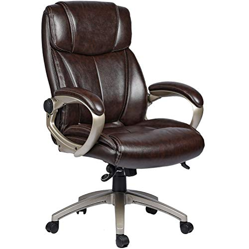 COMHOMA Leather Office Chair-400lbs Big and Tall High-Back Comfortable Executive Office Computer Desk Chair- Ergonomic Adjustable Swivel Home Office Chair with Wheels Armrests Lumbar Support-Brown