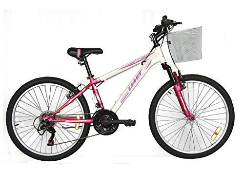 Umit 24 Pulgadas Bicicleta niña XR-240, Partir de 9 años, con Cambio Shimano y Suspension Delantera, Unisex niños, Rosa/Blanca