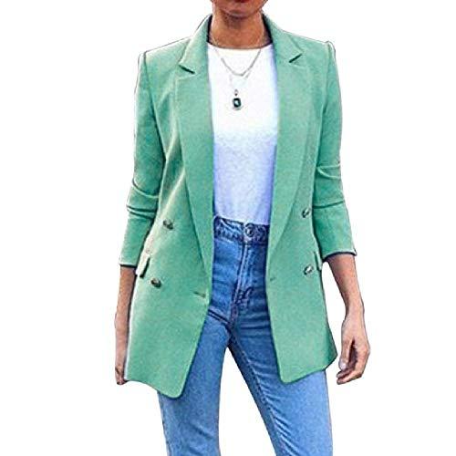 N\P Blazer - Chaqueta larga para mujer, abrigos largos y fijos, cuello con solapa, estilo informal verde XXXXL