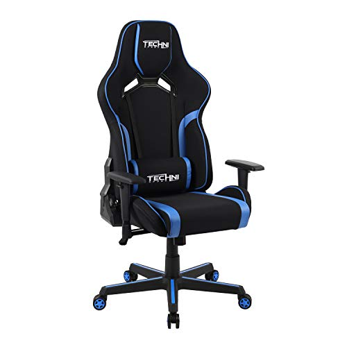 Techni Sport PC Gaming Chair with Foam Seat and Padded Arms, Reclining Office Chair with Height and Tilt Adjustment, Blue