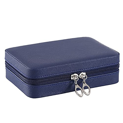 FACHA Joyero de cuero unisex con cremallera portátil para viajes, joyas, collar, pendientes, anillo (color: B, tamaño: 16,5 x 11,5 x 5 cm)