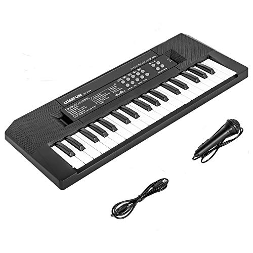 Piano for Kids 37 Keys Kids Keyboard Piano Electric Keyboard Piano with Microphone Music Educational Toy Gift for Girls Boys Children (Black)