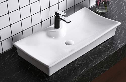 Art-of-Baan® - Design Waschbecken Aufsatzwaschbecken Waschtisch Wasch Schale Hochglanz weiß Antischmutz Beschichtung Lotus Effekt 80x 40 cm (7053)