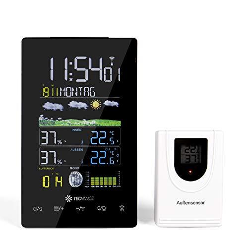 Tecvance Funkwetterstation mit Farbdisplay und Außensensor Innen- und Außentemperaturanzeige Inkl. Batterie und Netzteil - vertikal, schwarz