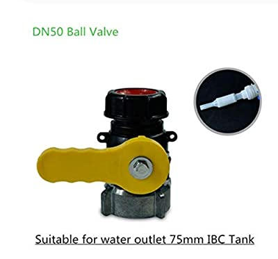 WellieSTR 1PC IBC Tote Tank Valve Drain Adapter Ball Valve,Butterfly Valve Acid Alkali Resistant, DN50 Ball Valve, Suitalbe for Water Outlet 75mm IBC Tank by wellie-store.