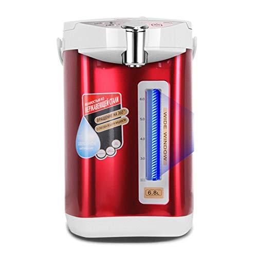 Dispensador De Agua Caliente De Acero Inoxidable, Botella De Agua Caliente Eléctrica con Capacidad De 5L, Calidad De Agua Purificada/Función De Control De Temperatura De 3 Secciones (Color : Red)