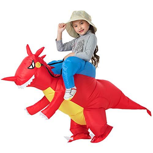 YEAHBEER Inflatable Dinosaur Costume T-Rex Fancy Dress Halloween Blow up Costumes (Red Dinosaur Kid)