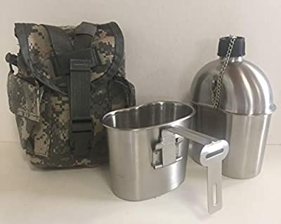 G.I. Style Stainless Steel 1qt. Canteen with Cup. With Genuine G.I. Surplus, ACU MOLLE II Pouch.