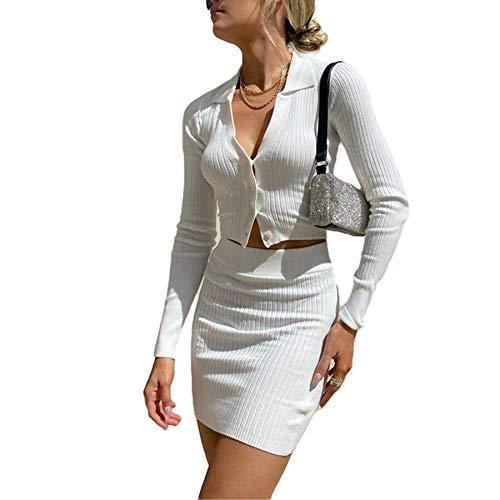 Geagodelia 2 Pezzi Completo da Donna Sexy Camicia e Cardigan Corta a Maniche Lunghe con...