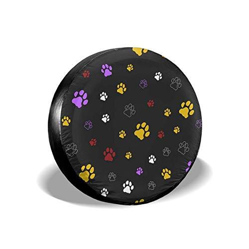 Lewiuzr Colorido Perro Gato Estampado de Pata Negra Cubierta de neumático de Repuesto Protector Solar de poliéster Cubiertas de Rueda Impermeables Ajuste Universal