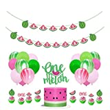 NUOBESTY 28PCS Watermelon Birthday Party Decoration One In A Melon Cake Topper Happy Birthday Banner Watermelon Cupcake Topper Fruit Party Picks Melon Latex Balloon