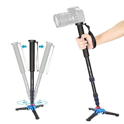Neewer Extendable Camera Monopod with Removable Foldable Tripod Support Base:Aluminum Alloy,20-66 inches/52-168 Centimeters for Canon Nikon Sony DSLR Cameras,Payload up to 11 pounds/5 kilograms