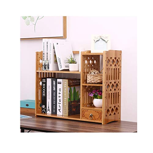 Organizador de Escritorio Bamboo Desktop Bookshelf Tallado Hueco Encimera Librería Madera Escritorio Organizador Mostrar Estantería Oficina Almacenamiento Rack Clasificador de Archivos Estantería
