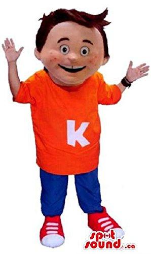 手紙Kと青と赤のギアを着ハッピーボーイマスコットSpotSoundカナダ