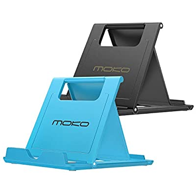 """MoKo [2 Pack Phone/Tablet Stand, Foldable Desktop Holder for 4-11"""" Devices, Fit iPhone 11 Pro Max/11/ Xs Max/SE, iPad Pro 11/10.2 (8th Gen) /Air 3/Air 4 10.9/Mini 5, Galaxy S20, Black & Blue by MoKo"""
