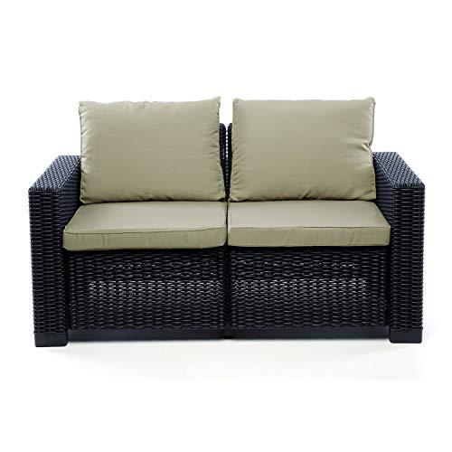 Divano in rattan California divano Mobili Set 2 posti Duo Rattan Outdoor Garden Furniture Set - con Cappuccino Cuscini (Grafit)